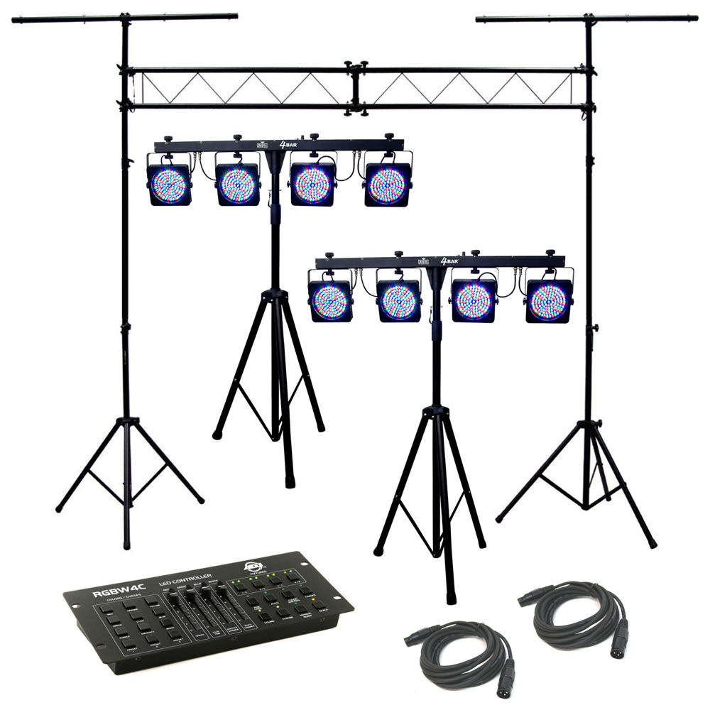 2 4bar stage led chauvet light package dmx cables rgbw4c truss system package ebay. Black Bedroom Furniture Sets. Home Design Ideas