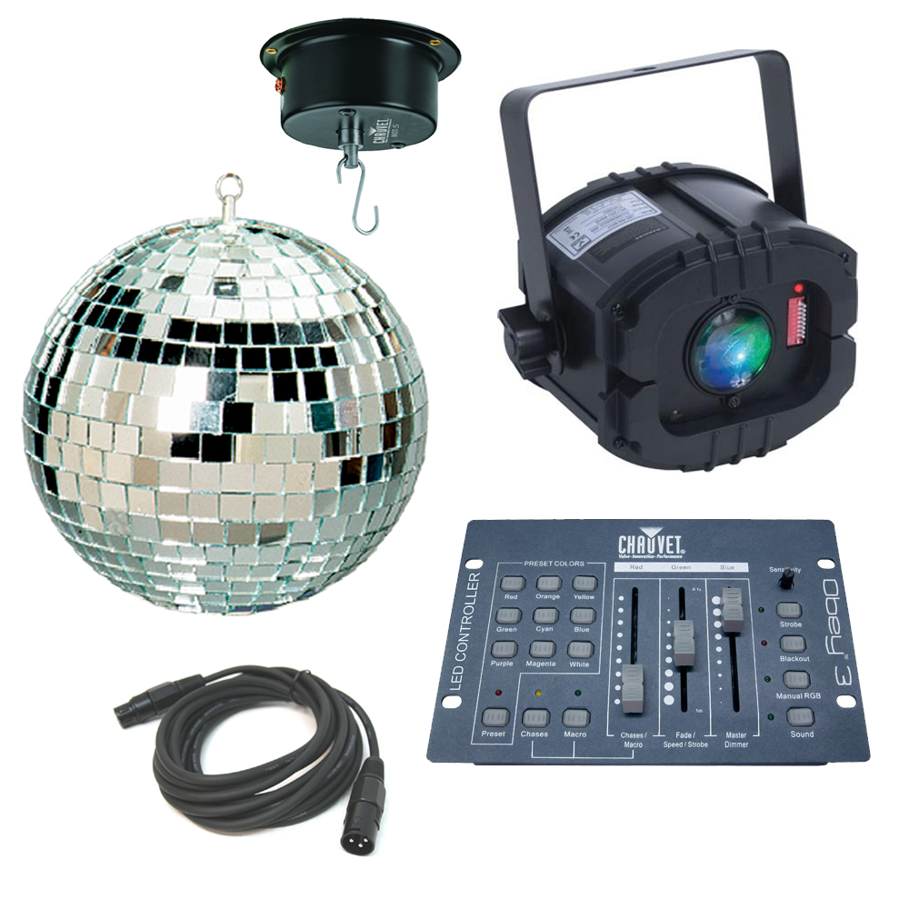 Led trispot color rgb pinspot american dj light with 16 for Dmx mirror ball motor