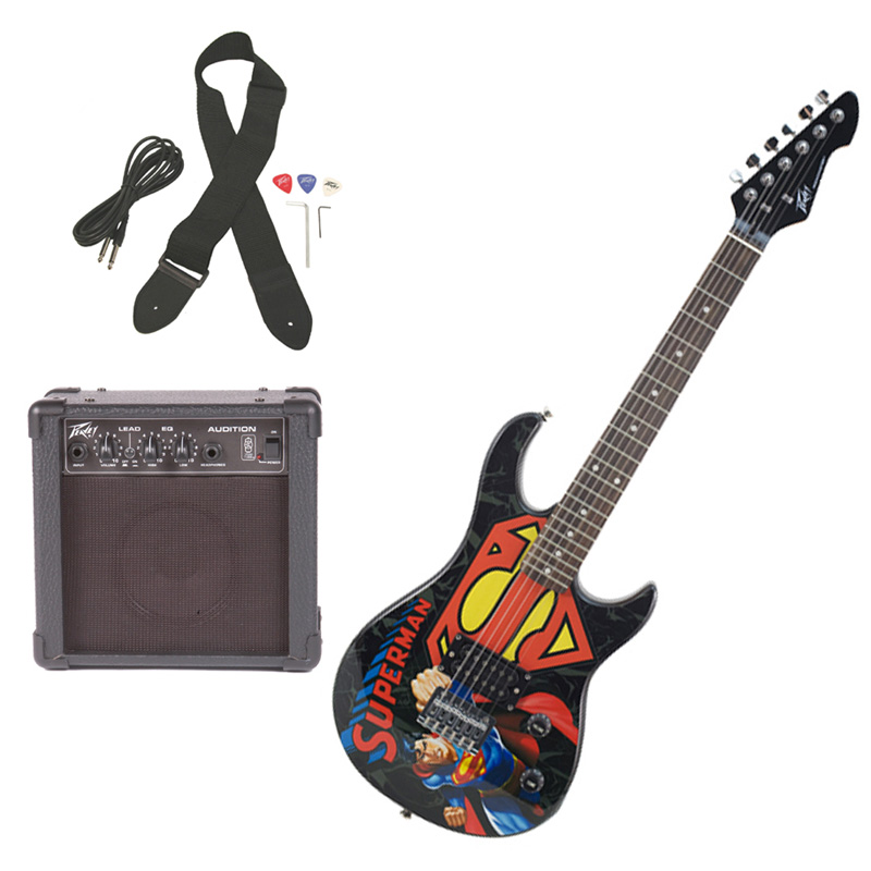 peavey pro audio rockmaster 3 4 student dc superman beginner electric guitar with cable picks. Black Bedroom Furniture Sets. Home Design Ideas