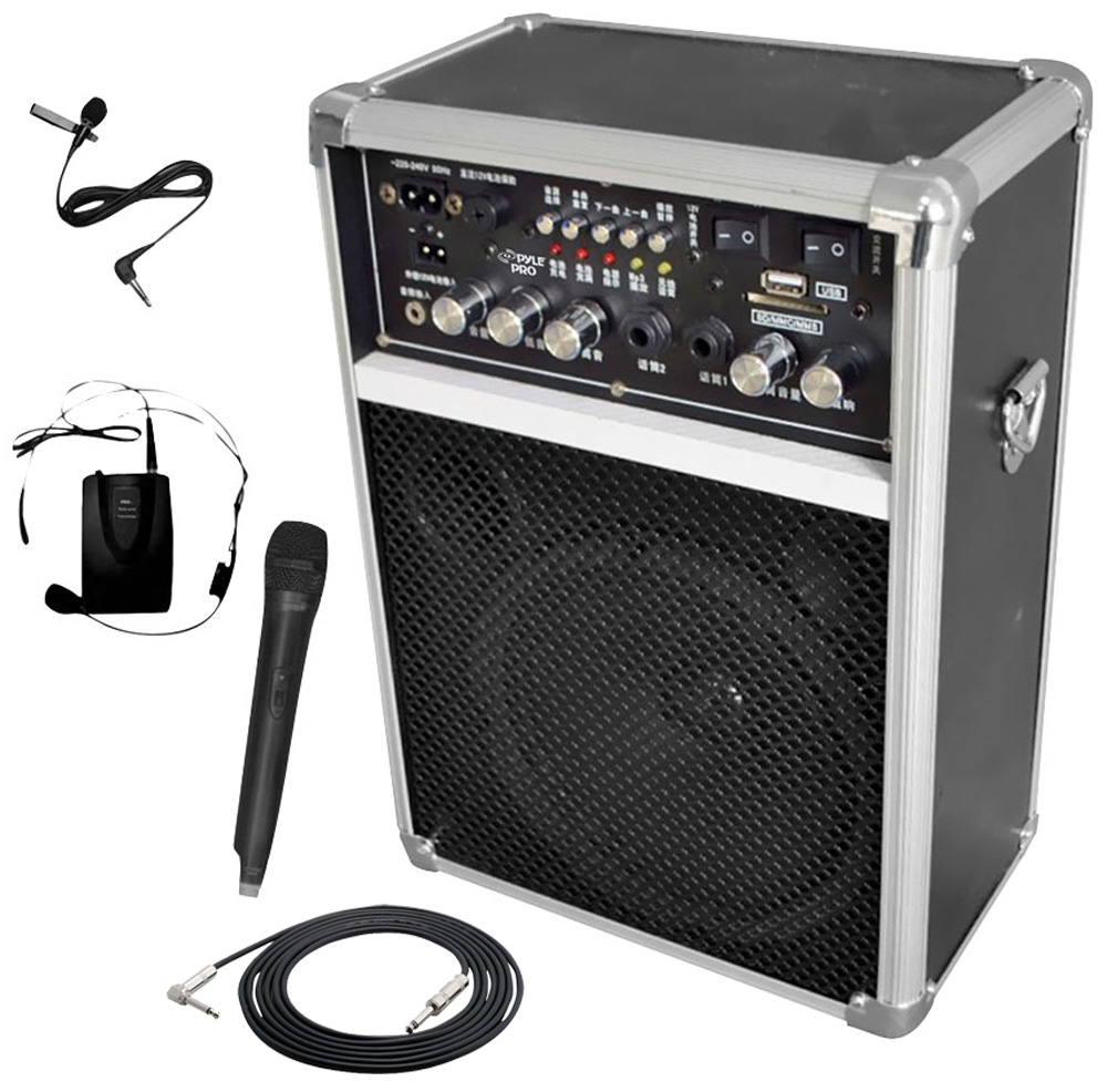pro audio pyle dj pwma170 battery powered dual wireless mic 6 pa speaker with 1 4 cable pyle. Black Bedroom Furniture Sets. Home Design Ideas