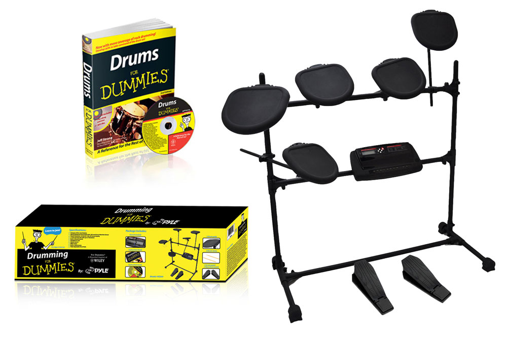 pyle pro ped07 electronic drumk kit with drums for dummies cd book and headphone jack pye13 ped07. Black Bedroom Furniture Sets. Home Design Ideas