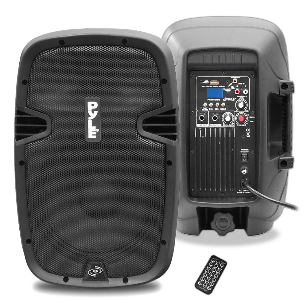 pyle pro pphp837ub 8 inch 600 watt bluetooth powered speaker system with remote pyl13 pphp837ub. Black Bedroom Furniture Sets. Home Design Ideas
