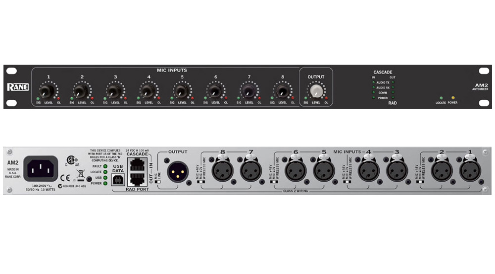 rane pro audio am 2 automixer eight gain sharing xlr mic line inputs one mix output am2. Black Bedroom Furniture Sets. Home Design Ideas