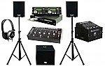 "American Audio CDG350 Pro DJ Rack Mount Dual CD Player with Monitor Headphones, Dual 10"" Powered PA Speakers & Powered 15"" Subwoofer, Gemini MM-1800 4CH Mixer and Odyssey Flight Case"