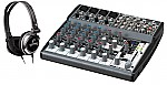 Behringer 1202FX Pro Audio DJ Xenyx 12 Channel Stereo Effects Mixer & Gemini DJX-03 Monitor Headphones
