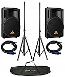 "Behringer B212XL (2) New Pro Audio DJ 12"" Passive 1600 Watt Speaker Pair Package, Tripod Stands & Cables"