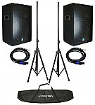 "Gemini GSM-1585 (2) New Pro Audio DJ 1400 Watt Passive 3 Way 15"" Speaker Pair, Stands & Cables!"