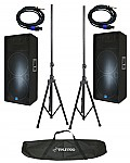 "Gemini GSM-3250 (2) New Pro Audio DJ 2400 Watt Passive Dual 15"" Speakers with Stands & Cables"
