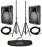 "Gemini RS-412 (2) New Pro Audio DJ Active 12"" 1600W Speaker Pair with $220 Tripod Stands & XLR Cables!"
