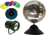 "American DJ MB 8 COMBO Mirror Disco 8"" Ball W/ Pinspot & Light Color Filters"