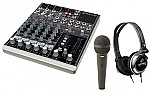 Mackie 802-VLZ3 Pro Audio DJ Compact 8 Channel Audio Mixer, Gemini DJX-03 Monitor Headphones &amp; CAD Audio CAD12 Dynamic Cardioid Microphone