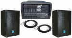 Pro Audio Pyle DJ PMX1204 Powered 600 Watt 12 Channel Mixer with Cable & Gemini GT-1204 Speakers