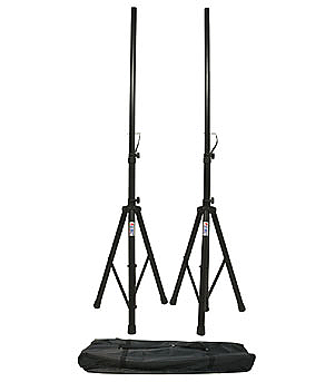 (2) DJ PA Speaker Universal Stands and Nylon Carrying Bag Package